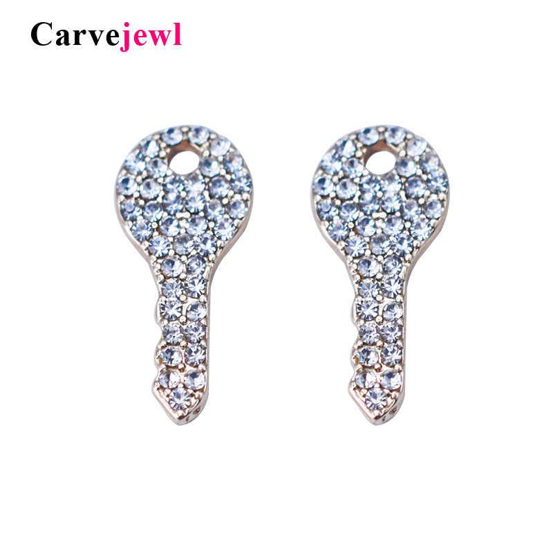 Carvejewl adorável pequeno parafuso prisioneiro brincos de cristal strass bonito forma chave coreia design brincos para feminino menina estudante presente jóias