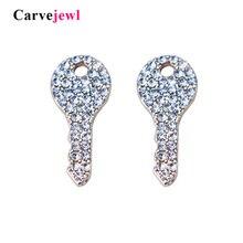 цена на Carvejewl stud earrings crystal rhinestone cute key shape stud earrings for women jewelry plastic post anti allergy earrings hot