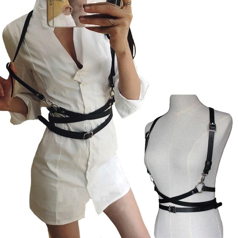 Moda Punk Harajuku metallo Pin fibbia cinghie di Cuoio Modellamento Del Corpo Bondage Cage Harness Cinghie In Vita Bretelle Cintura per le donne