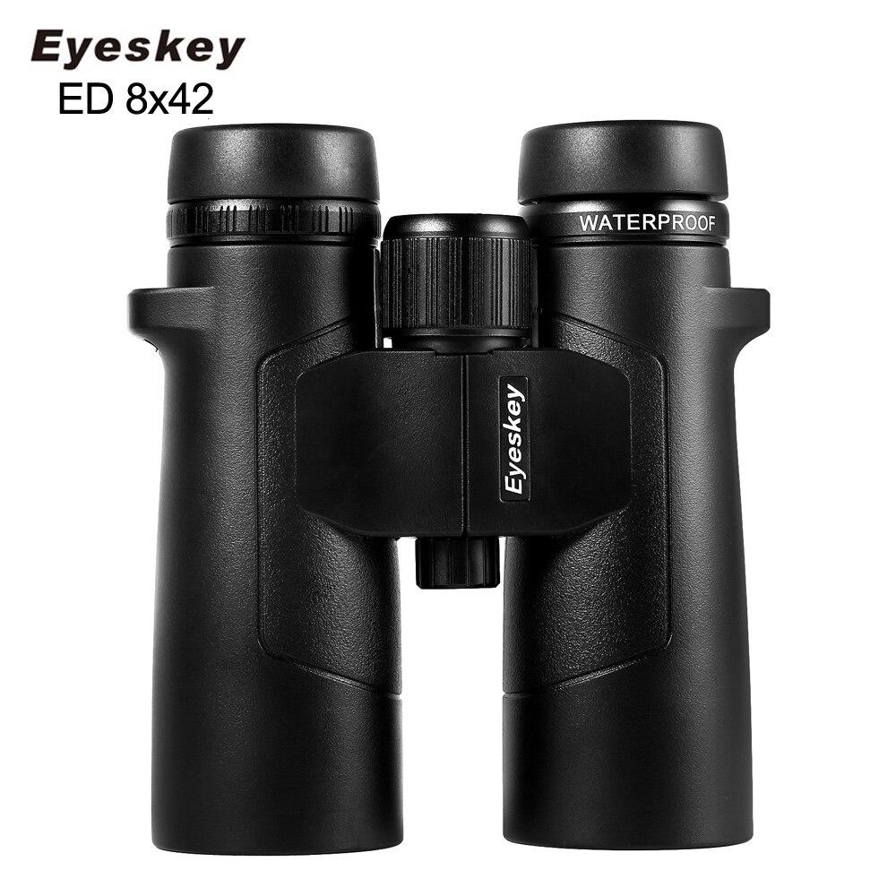 Eyeskey 8x42 ED Glass Waterproof Super Multi Coating Binoculars Phase Coated Bak4 High Power Telescope for