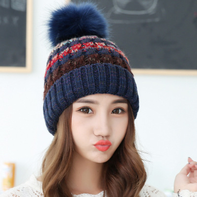 Hot Sale Autumn Winter Women Knitted Thick Warm Hat Skullies Beanies Patchwork Pompom Cap Casual Cute Thickness Beanies skullies new arrival warm winter female knitted hat hedging interior plus fluff lines thick line twist cap cute hat 1866934