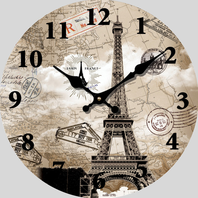 Paris eiffel tower wall clock world map vintage wooden wall clocks paris eiffel tower wall clock world map vintage wooden wall clocks living room 14 inch large gumiabroncs Gallery