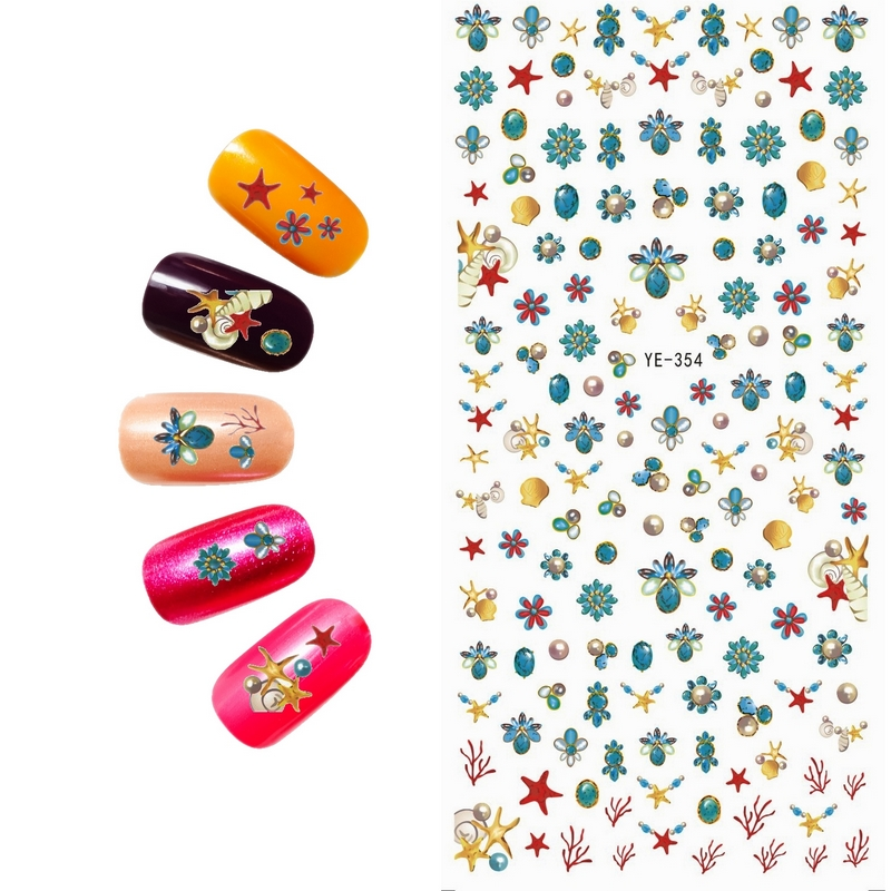 WATER TRANSFER DECAL NAIL ART NAIL STICKER CARTOON FLOWER BEACH SHIP NEW YORK SEA STAR SUN GLASSES YE354-359 3 packs lot cartoon marine mermaid conch sea star nail tattoos sticker water decal nail art hot307 309