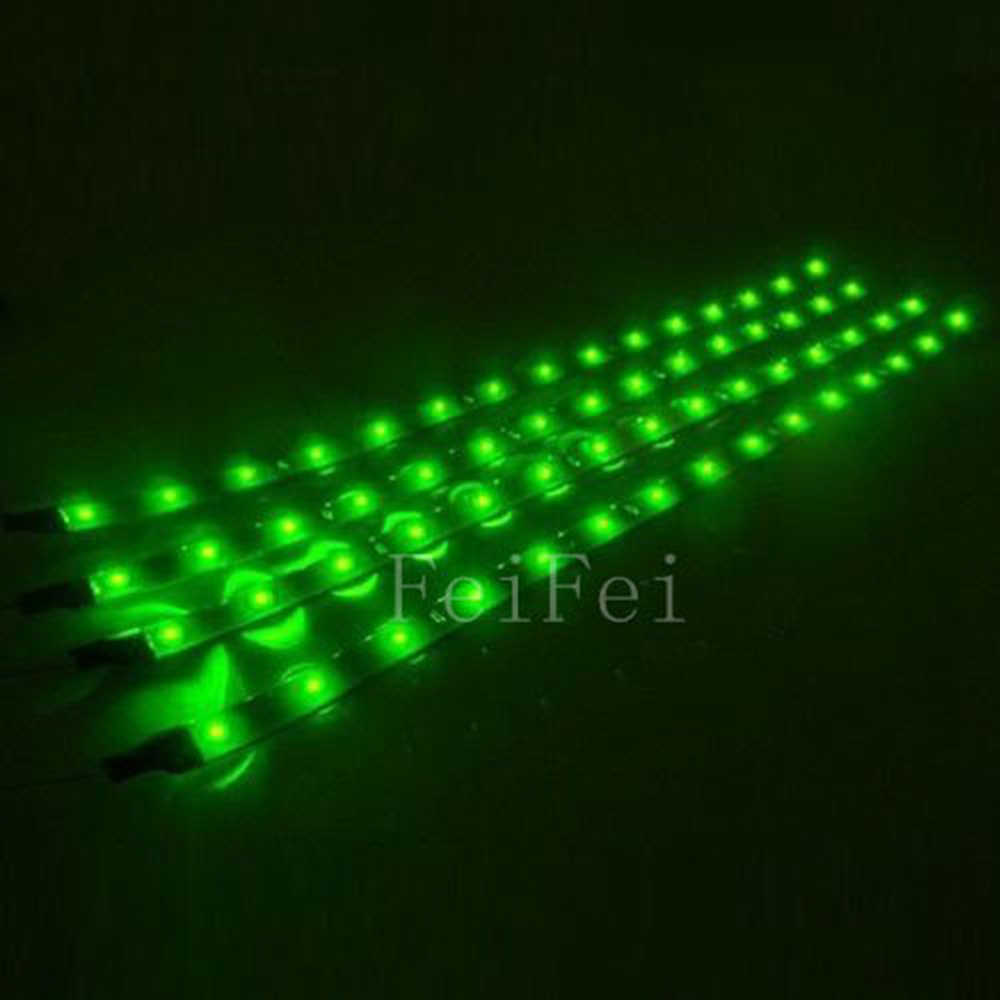 4pcs Waterproof 12V 30cm 60cm 90cm 120cm Green  LED Car Truck Motors Flexible Strip Light