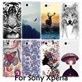 Animal bonito tiger pintura flores macio tpu tampa do telefone case for sony xperia m4 aqua xa xp z xz x m5 z4 z5 z1 z2 z3 mini compact
