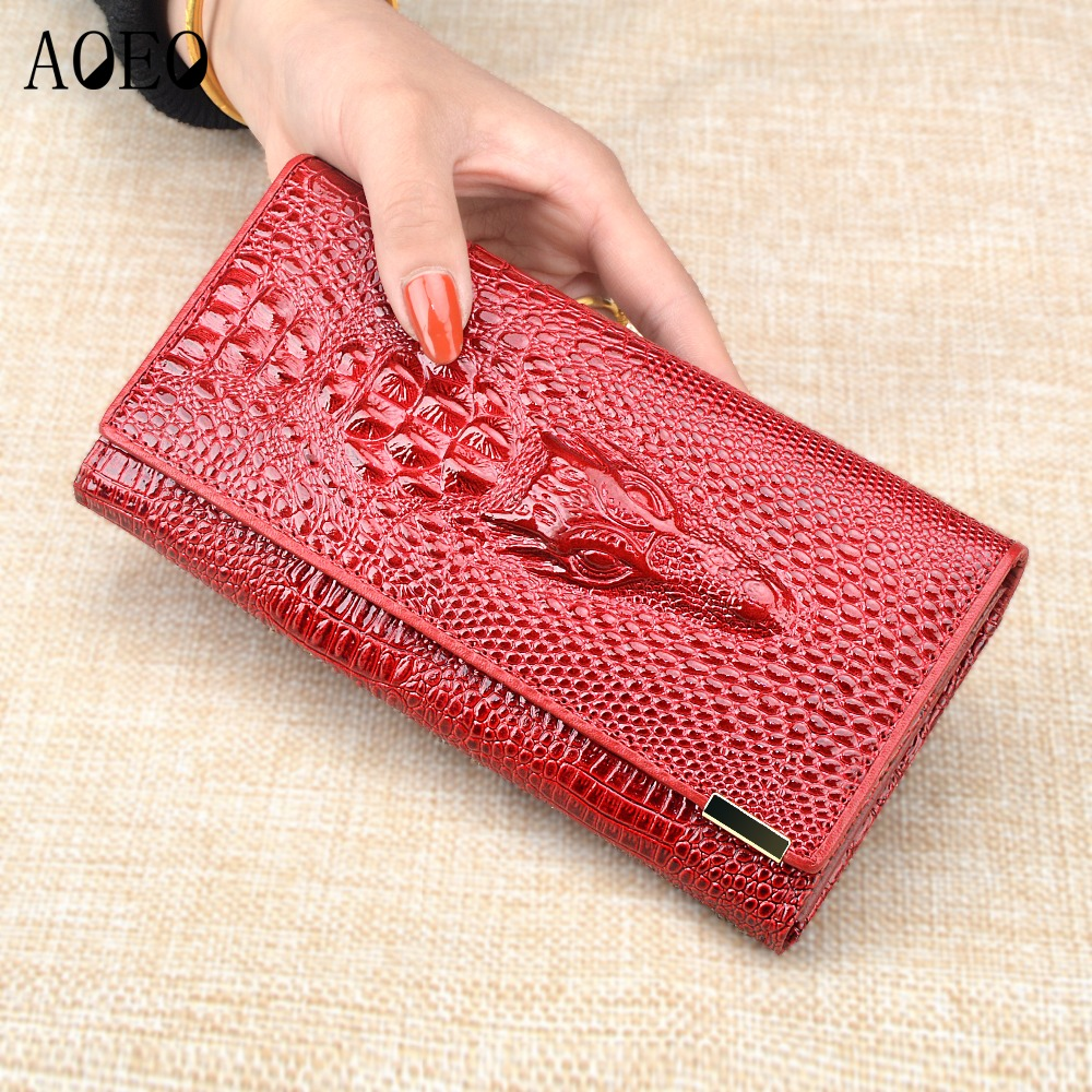 AOEO Women Wallet Female Dollar Money Coin Purses Holder Genuine Leather 3D Alligator Fashion Crocodile Long Clutch Wallets