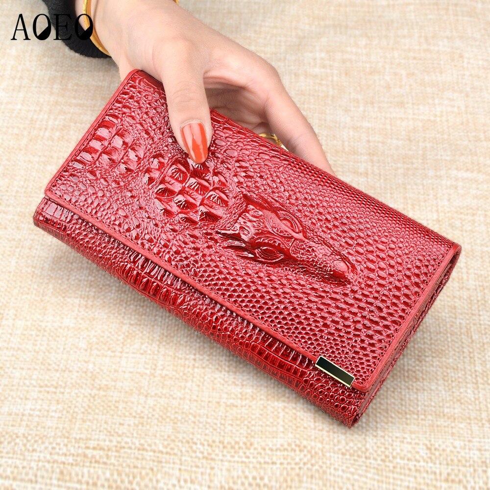 AOEO mujeres bloqueo cartera bolso femenino dinero monederos cuero genuino PU 3D cocodrilo embrague largo carteras