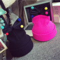 Lindos sombreros de invierno encantadora sombreros de lana de punto cap para el bebé niñas niños niños colorido bola del nudo del arco de la gorrita tejida