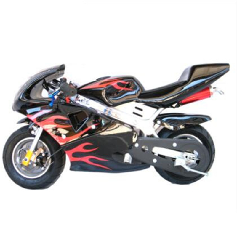 Two-stroke engine Multicolor mini motorcycle   Front and rear disc brake  49 cc mini sports car