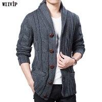 WIIVIP новый зима весна свитер Для мужчин плотного полушерстяного Длинные рукава прочные кардиганы Для мужчин s Верхняя одежда свитер вязанны...