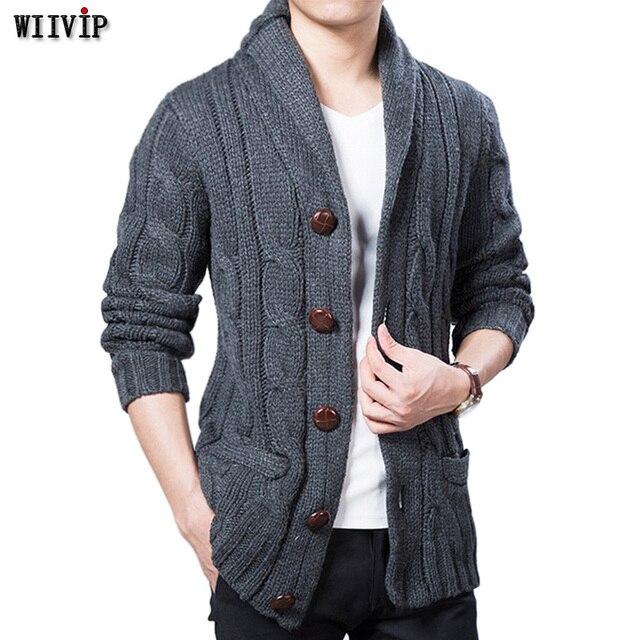 c351b71671 WIIVIP New Winter Spring Sweater Men Thick Wool Blend Full Sleeves Solid  Cardigans Mens Outwear Sweatercoat
