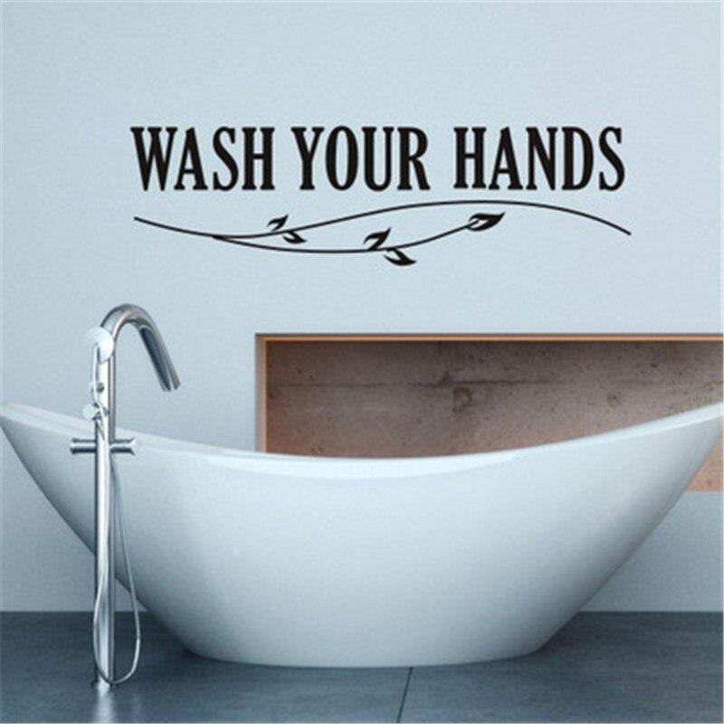 bathroom wall sticker wash your hands quote wall sticker muraux waterproof toilet bathroom vinyl wall decals