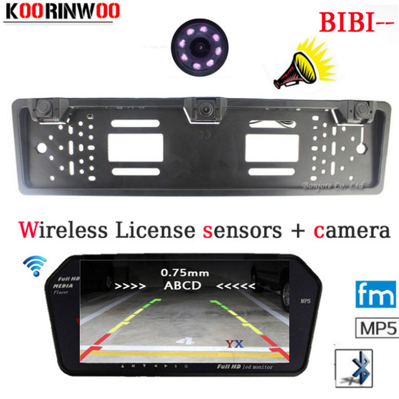 KOORINWOO Universal Wireless Car Monitor Bluetooth MP5 FM 1024*600 Parktronic Car Rear view camera Car parking Sensors 2 Buzzer mayitr 1pc low voltage induction heating heater diy board module with tesla coil 1000w zvs
