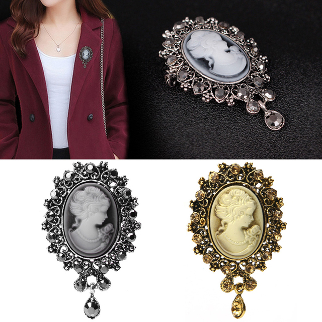 Lady vintage cameo victorian style wedding party women pendant lady vintage cameo victorian style wedding party women pendant brooch pin t15 aloadofball Images