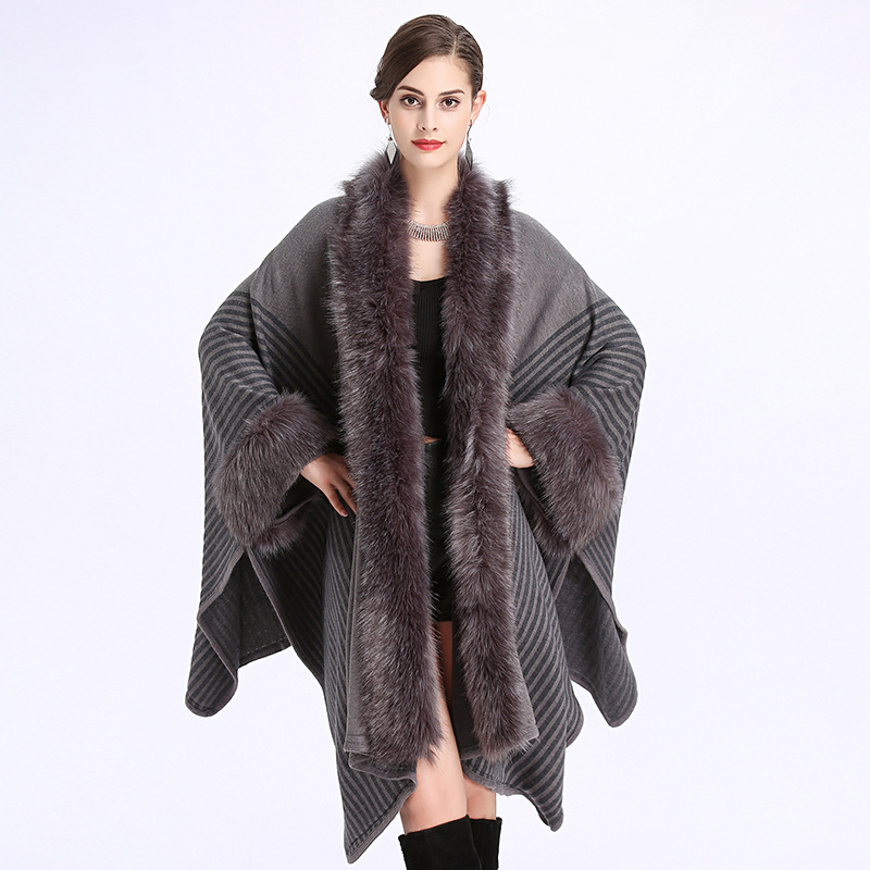 Cashmere Shawl Cape Coat Autumn Winter New Women s Long Knitted Cardigan Sweater Fashion Fake Fox