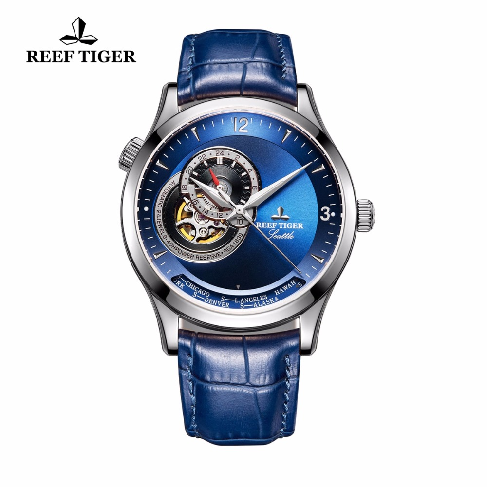 2018 Reef Tiger Luxury Brand Designer Casual Watches Fashion Sports Genuine Leather Strap Blue Dial Automatic Waterproof Watch цена и фото