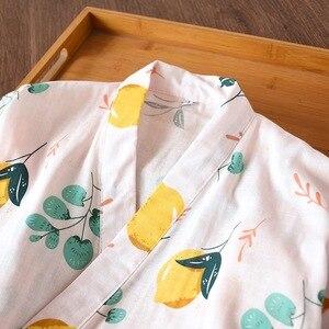 Image 5 - Roupões de banho roupão de banho para mulheres de verão fresco japonês yukata kimono robes pijama das mulheres define 100% gaze de algodão simples ternos noite