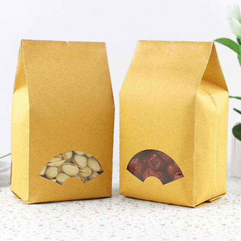 100pcs/lot-9*22+6.5cm Kraft Paper Organ Window Bag for Gift/Tea/Candy/Jewelry/Bread Packaging Paper Food Bag DIY Packaging Bags