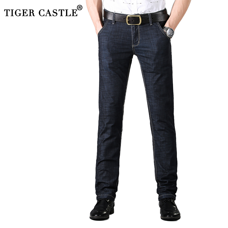 Summer Mens Thin   Jeans   2018 Casual Male Stretch Business   Jeans   Pants Regular Fit Black Straight Ling Denim   Jeans   Size 28-40 811