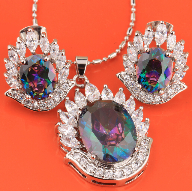 Attractive Rainbow Mystic Hot White 925 Sterling Silver Jewelry Sets Earring Pendant S8277
