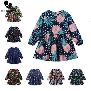Spring Autumn Girls Cute Floral Cartoon Print A-line Dress Kids Baby Girls Long Sleeve O-Neck Princess Dresses Children Clothing