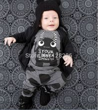 2016 Summer 2pcs Baby boy clothes Newborn Toddler Infant Kids Casual T-shirt Top + Long pants Outfits set Little Monsters