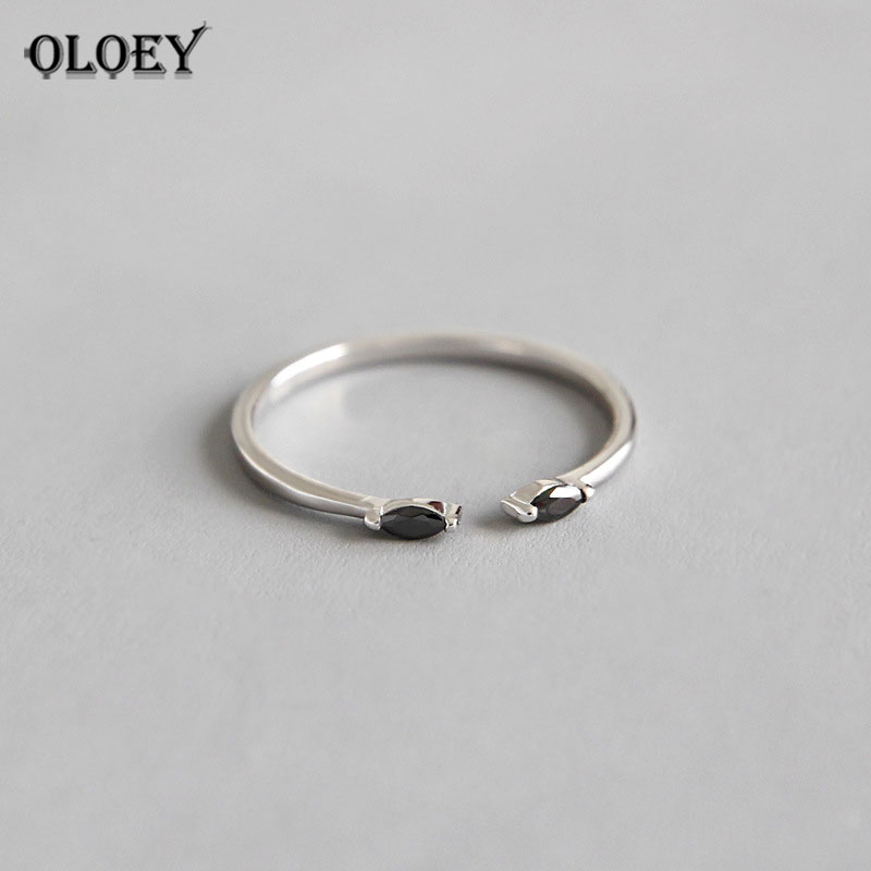 OLOEY 100% Real Sterling Silver 925 Ring 2019 New Arrival Fine Jewelry Black Zircon Opening Adjustable Rings For Women YMR698