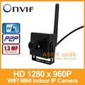 WIFI 1280x960 P 1.3MP Mini Câmera IP Interior Câmera de Segurança P2P ONVIF CCTV IP Cam Preto