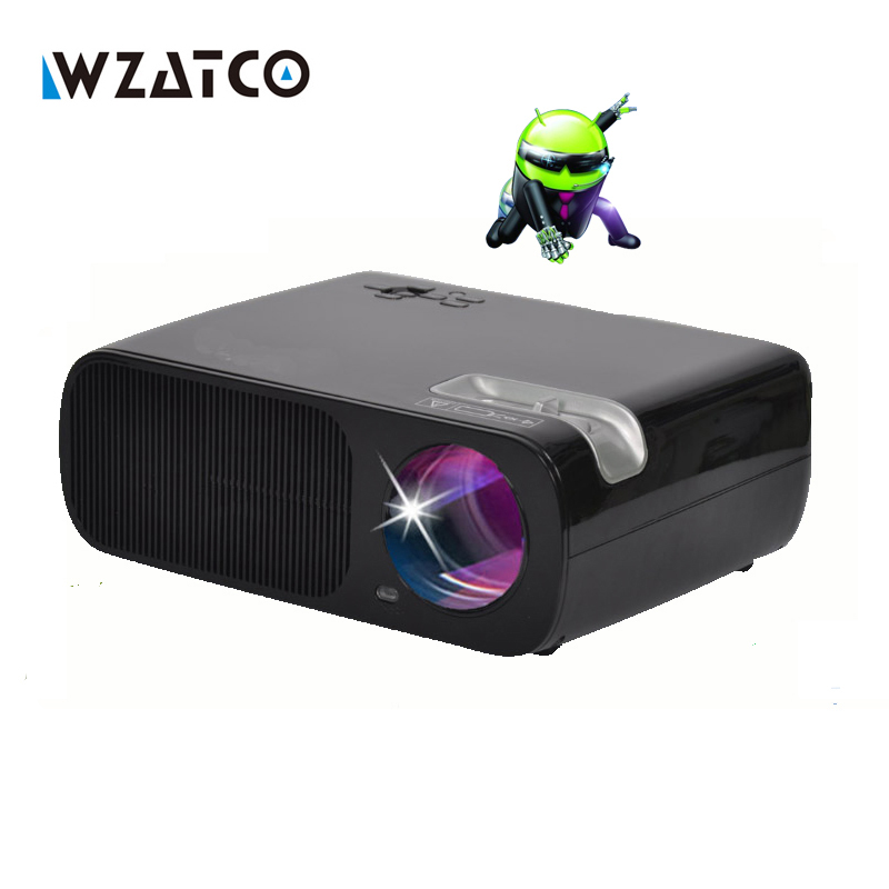 WZATCO Android 3000lumens USB HDMI Video Portable Mini HD 1080P 3D home theater LED LCD TV Projector Proyector Beamer proektor wzatco led96 tv projector full hd 1080p android 4 4 wifi smart rj45 3d home theater video proyector lcd projector beamer for ktv