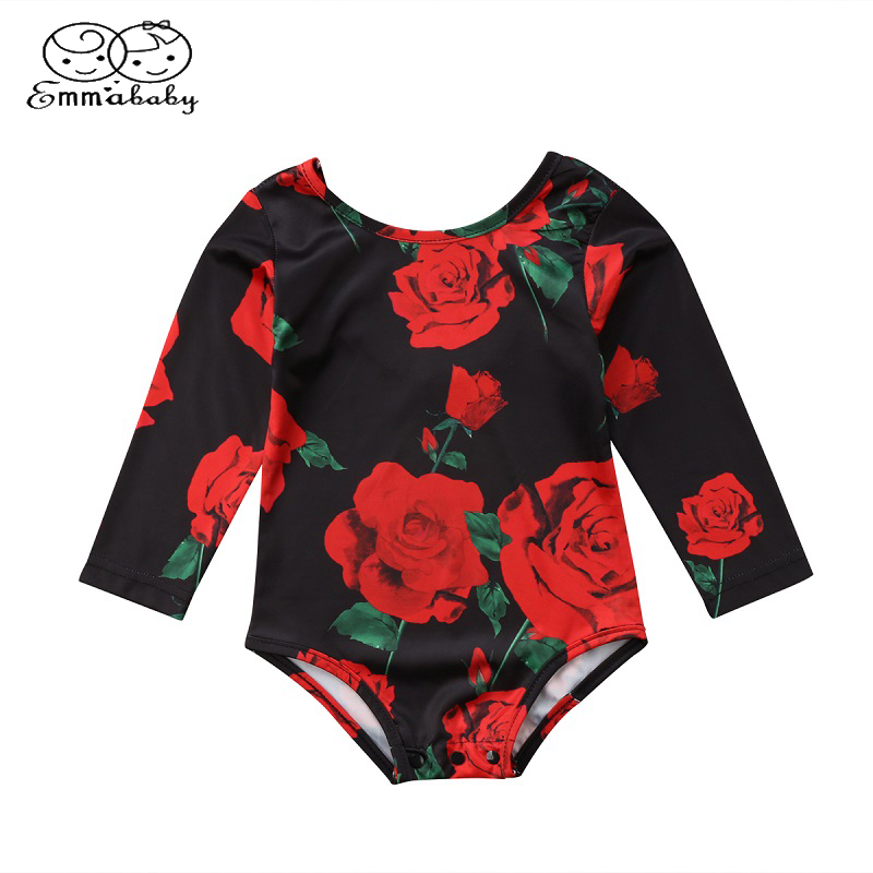 Emmababy Newborn Kids Baby Girls Rose Long Sleeve Romper Flower Print Jumpsuit Jumper Outfits Clothes