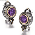 2017 Winter New vintage Classic Jewelry Round Shape Amethyst stone 925 Sterling Silver Earrings E0419