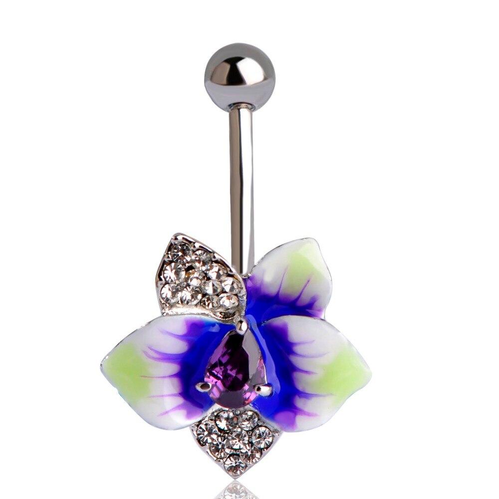 Enamel Esmalte Violetta Flowers Piercing Navel Belly Button Rings Rasta Rod Plug Sex Body Jewelry Percing Mix Lot Bulk Wholesale handbag