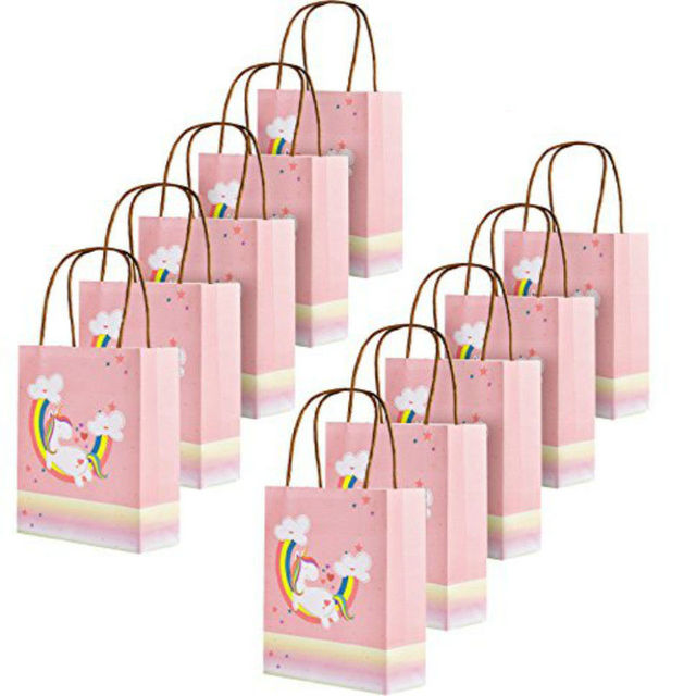Unicorn Gift Bags Paper Treat Party Favor With Handles Birthday Supplies Pack Of 10