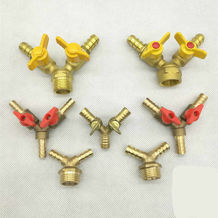 "Y 1/2 ""Bspt Pria X 8 Mm Selang Barb Double Forks Connection Brass Tee Gas Ball Valve Pipa fitting Handle Kupu-kupu Air"