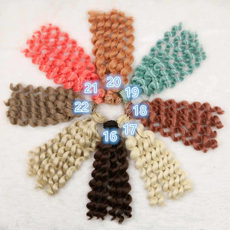20 cm Pop haar pruiken beschikbaar voor BJD SD DD Chole pop Pruiken Hoge temperatuur draad 6 roll krullend wave haren pop accessoires