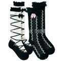 Ems / DHL envío gratis niños bebés niños princesa del arco del cordón largo calcetines calentador de la pierna, Leggings blanco negro en la acción 25 par/lote