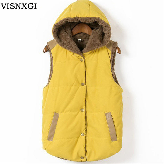Inverno Mulheres Outono Casaco de Couro de Algodão Coral Fleece Parkas Com Capuz Patchwork Para Outerwear Feminino Colete 2017 S265