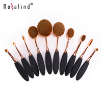 10 Piece Oval Makeup Brush Set Cosmetic Foundation Cream Powder Synthetic Brushes Tools Foundation Oval Brush