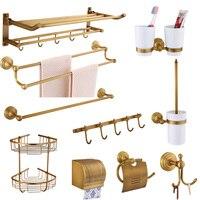 Copper mobile phone rack soap net bathroom accessories European vintage towel bar Ceramic toothbrush cup rack bathroom product
