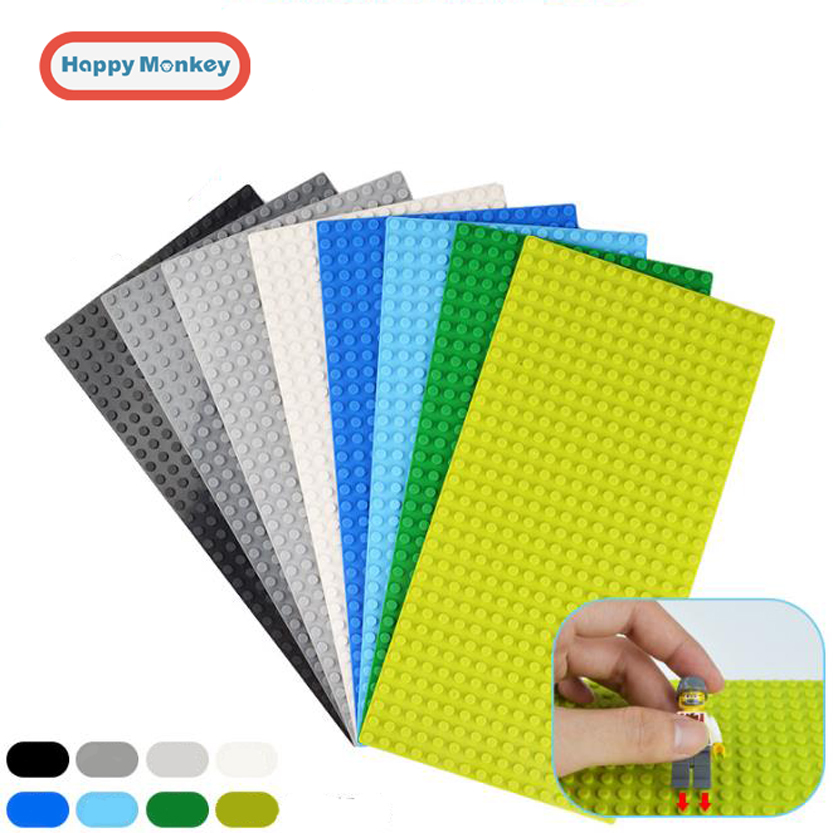 16*32 Dots Base Plate for Small Bricks 11 Colors Baseplate Board DIY Building Blocks Toy For Children Compatible with legoing 35 2017 brand new fashion big size 40 40cm blocks diy baseplate with 50 50 dots small bricks base plate green grey blue