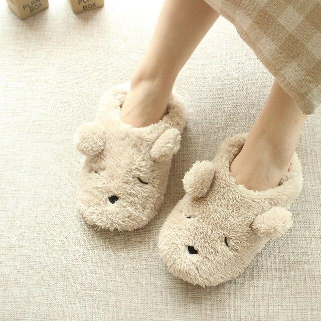 Cartoon plush bear autumn and winter home slippers women cute ...