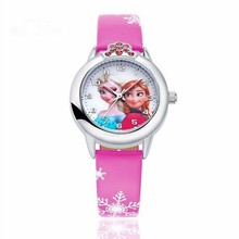 Hot Princess Elsa Pattern Children Watch Fashion Crystal Cartoon Leather Strap Q