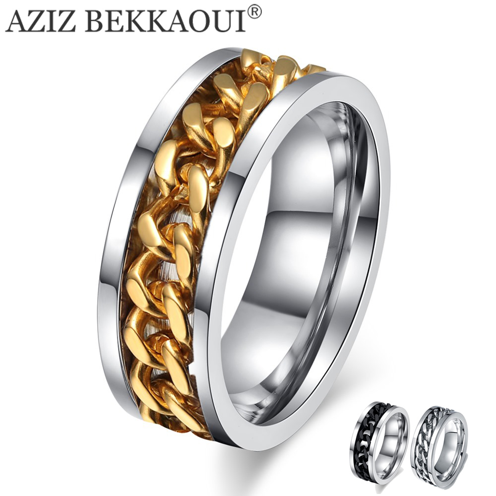 Wedding-Rings Chain-Design Name Stainless-Steel for Men AZIZ BEKKAOUI 3-Color Special-Turnable