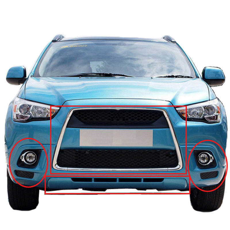 ФОТО 1pcs Black Chrome Radiator Grille Garnish Center Molding Lower Cover Trim For MITSUBISHI ASX 2013 Front Bumper Grill Cover