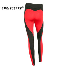 cfbe28eb77809 CHRLEISURE Casual Leggings Women New Red Black Color Patchwork Heart Shape  Print Leggins Big Size Fitness