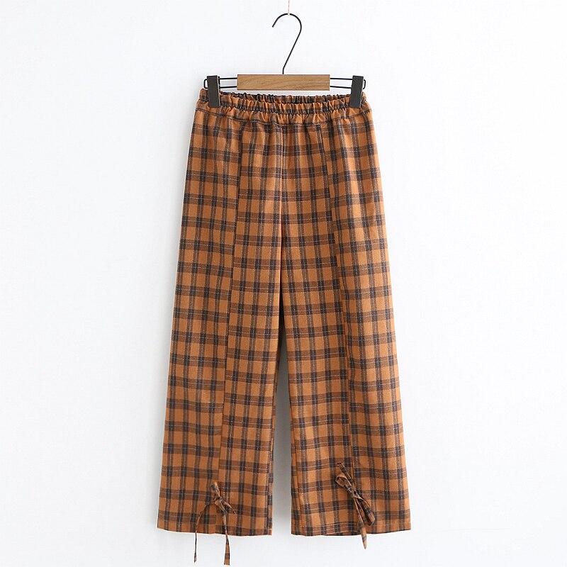 Mori Girl Casual Women's Plaid   Pants     Capris   Ankle-length   Pants   Bow Tie Up Elastic Waist Straight Trousers Cotton