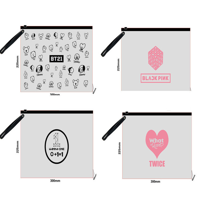 YCYCRING Kpop BTS BT21 Bangtan Boys Transparent Pencil Case BLACKPINK TWICE GOT7