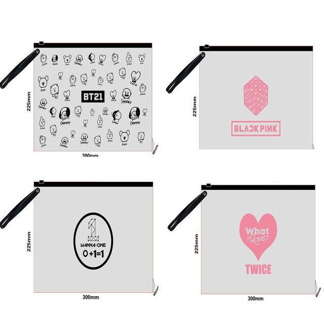 NEW Kpop BTS BT21 Bangtan Boys Transparent Pencil Case BLACKPINK TWICE GOT7 WANNAONE Cosmetic Bag Ticket Holder Stationery Bag