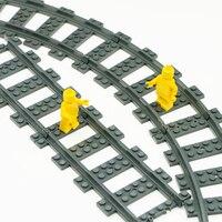 10pcs Train Track Rails Building Blocks Flexible Straight Curved Trains Railway Accessories Brick Toy Compatible LegoINGlys