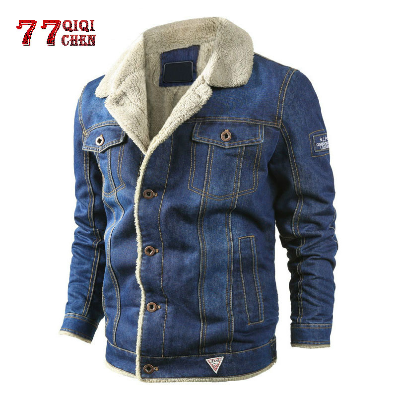 QIQICHEN Jeans Jacket Motorcycle-Cow-Jackets Chaquetas Thicken Winter Fashion Windproof
